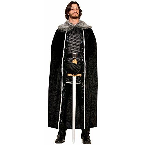 [Forum Novelties Men's Medieval Fantasy Faux Fur Trimmed Cape, Black, One Size] (Men Renaissance Costumes)