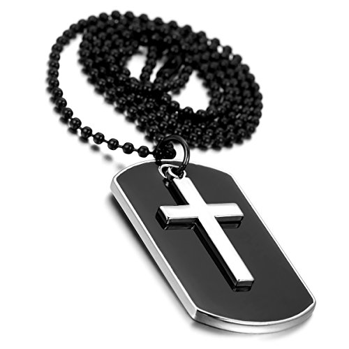 Cupimatch Mens Military Army Style Dog Tag Alloy Cross Pendant Necklace, 28 Inch Chain, Black Silver