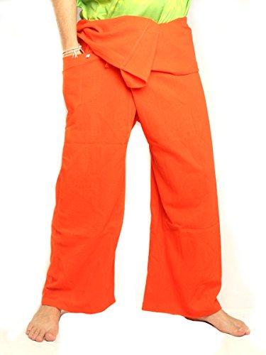 Orange Fisherman Pants - jing shop Men's Thai Fisherman Pants Extra Long Cotton Solid Color with One Side Pocket Orange