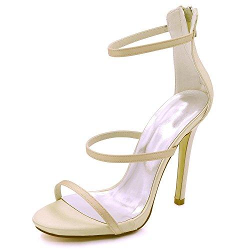 Shoes L Dama De 3 Alto Boda Court 8 7216 Prom Sandalias Mujeres Del yc 05 Honor tacón La Las Champagne Peep CTwXrTq