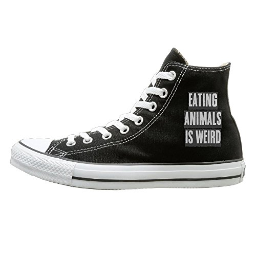SH-rong EATING ANIMALS IS WEIRD High Top Sneakers Canvas Shoes Design Sport Shoes Unisex Style Size (Boogie Shoes Dance Costumes)
