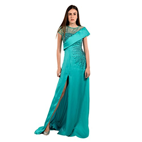 Khwaab Sweetheart with Bodice Sea-Green Color Satin and Georgette with Net Sequins Evening Gown, Bust 38, Waist 32, Size L - Sea Green Color Net