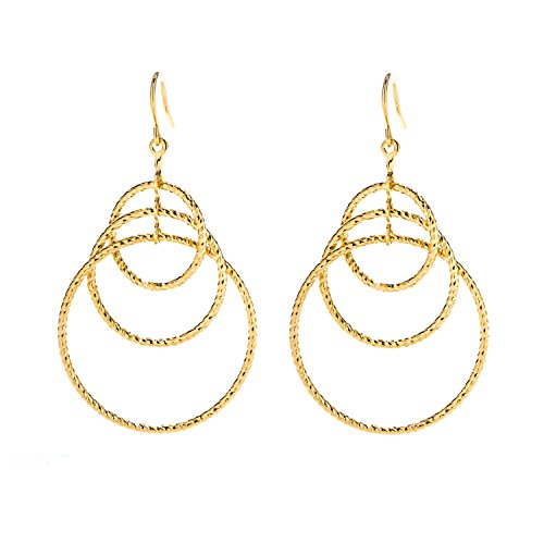 Lifetime Jewelry Triple Hoop Earrings, 24K Gold Over Semi-Precious Metals, Made Safe for Most Sensitive Ears, Light and Easy to Wear, Long Hang Drops Down 1.5 Inch Long with 1 Inch Diameter