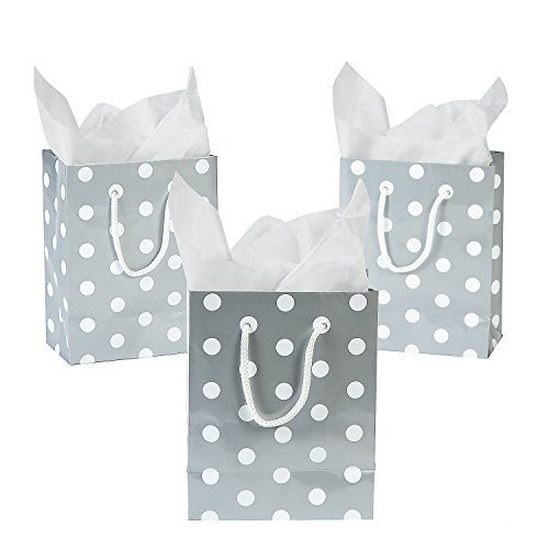 Paper Medium Silver Polka Dot Wedding Party Gift Bags