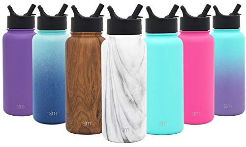 Simple Modern 40 oz Summit Water Bottle with Straw Lid - Gifts for Men & Women Hydro Vacuum Insulated Tumbler Flask Double Wall Liter - 18/8 Stainless Steel Pattern: Carrara Marble