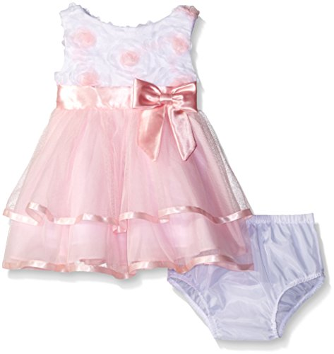 Rare Editions Baby Girls' Soutache and Mesh Special Occasion Dress, Pink/White 6 Months (Editions Bloomers Rare)