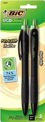 BIC ECOlutions ReAction Ball Pen, Medium Point (1.0mm), Black, 2 Pens