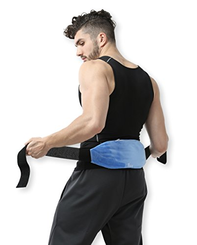 Lower Back Gel Beads Hot & Cold Therapy Wrap Compress Pack + Fabric Cover - Reusable gel beads provides both ice/heat pain relief and rehab treatments. Great for sports injuries, (Heat Reusable Gel Pack)