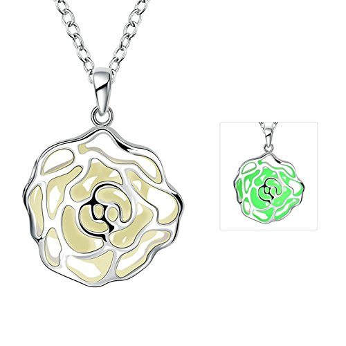 Green Arrow Costumes Replica (Aooaz Women / Men Luminous Necklace Stainless Steel Hollow fine flowers Illuminated)