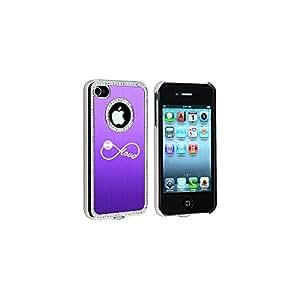 Apple iPhone 4 4S Purple S2612 Rhinestone Crystal Bling Aluminum Plated Hard Case Cover Infinity Infinite Love For Baseball Softball