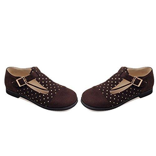 VogueZone009 Damen Schnalle Rund Zehe Ohne Absatz Gemischte Farbe Flache Schuhe Braun