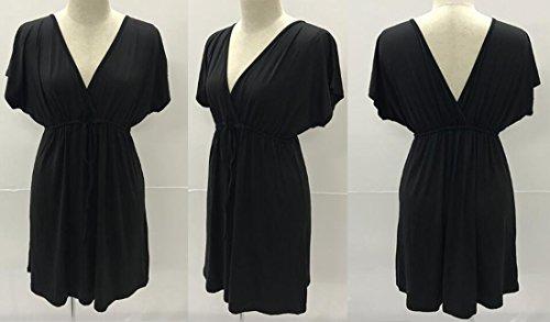 QIYUN.Z Profundo Vestido de Cuello en V Boda Fiesta Vestidos para Mujer Negro