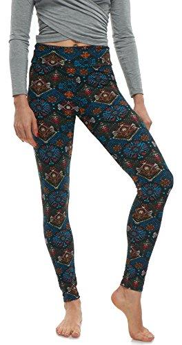 (LMB Lush Moda Extra Soft Leggings With Designs- 502YF Northern Lights Yoga,One Size fits Most (XS - XL))
