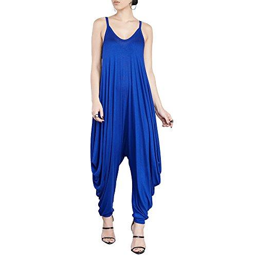 Dreamskull Women's Punk Spaghetti Strap Jumpsuit V Neckline Comfy Loose Harem One Piece Romper(Blue)