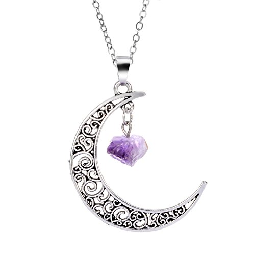 Semart Natural Amethyst Crescent Pendant Ancient Silver Copper Galaxy Moon Necklace Healing Handmade Gemstone Jewelry Mothers Day Gifts