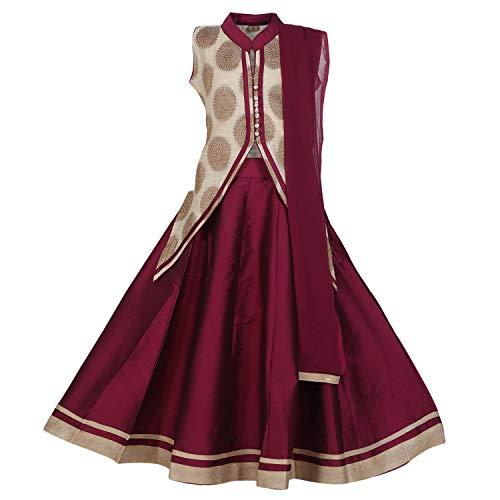 (Ashwini Girls Netted Green Skirt Top (Maroon, 4-5 Years))