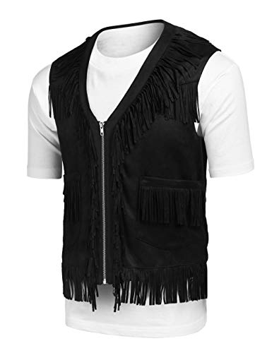 COOFANDY Mens Fringe Vest Hippie Costume Casual Western V Neck Zipper Suede Leather Waistcoat Black -