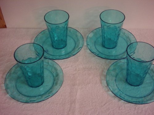 Tupperware Ice Prisms 8pc Plates/Tumblers Sparkling Teal Green (Acrylic Tupperware Tumblers)