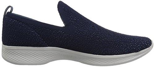 Skechers Performance Womens Go 4-14918 Walking Shoe, Navy/Gray, 6.5 M US