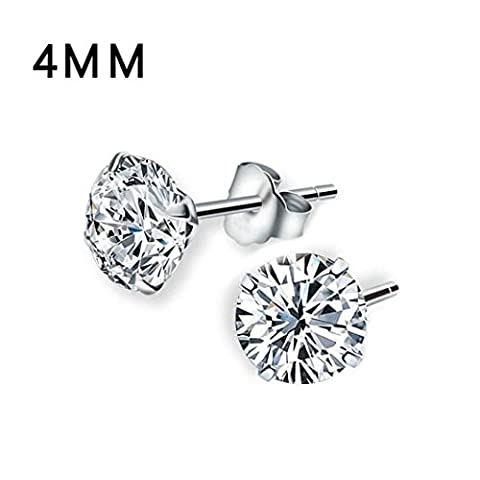 Iuhan Women Jewelry Clear Solid 925 Sterling Silver Cubic Zirconia Round Stud Earrings (4mm) (Copper Wire 8g)