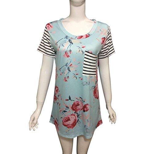 Women's Tops,Neartime tripe Short Sleeve Flower Printed T-shirt Blouse Fake Pocket (M, Blue) Photo #3