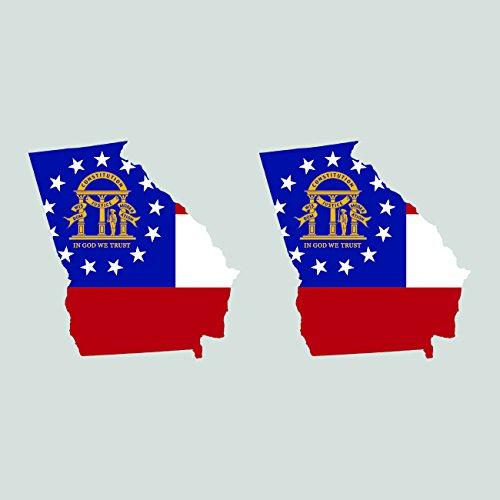 Flag Stickers Georgia (Two Pack Georgia State Shaped Flag Sitcker FA Graphix Decal GA)