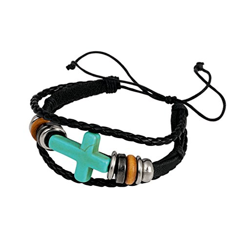 American Coin Treasures Sideway Cross and Beads On Braided Cord Bracelet (Coin Leather Bracelet)