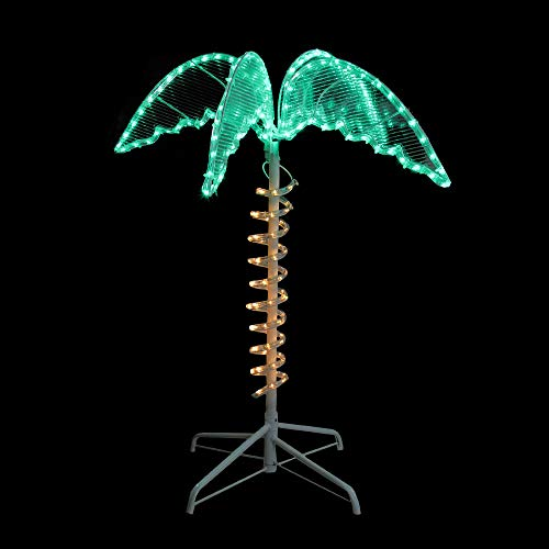 (Northlight 2.5' Green and Tan LED Palm Tree Rope Light Outdoor Decoration)
