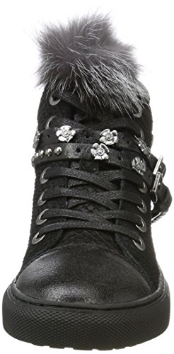 REPLAY REPLAY Wavy Wavy Nero Collo Donna Sneaker Alto a Black rr5dRwqxA