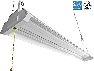WestDeer LED Shop Light 4ft 42 Watt 4500 Lumen 5000K Daylight White UL Listed Energy Star LED Garage Lights Double Integrated Ceiling Light Fixture with Pull Cord Switch
