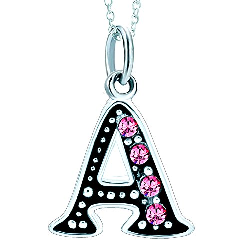 LovelyJewelry Initial Pink Letter A Alphabet Initial Charms Bead Necklace Pendant