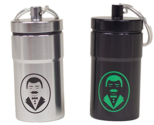 The Butler – Smell Proof Aluminum Personal Stash Jar with Butler Design EDC and Keychain Ring Fob Small – 2 pack