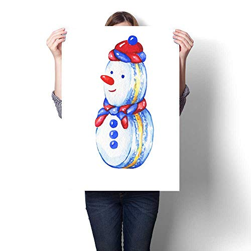 Wall paintings Snowman cupcake Christmas decoration - greeting card invitation New Year Snowman macaron Snowman silhouette Watercolor hand drawn painting illustration isolated on white background Mod