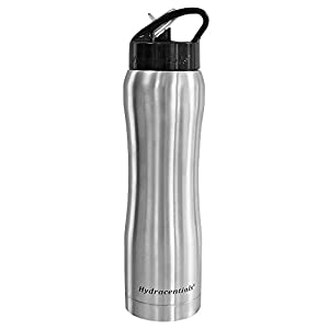 Hydracentials Stainless Steel Vacuum Insulated Water Bottle With Straw and Bonus Cover and Straw Cleaners (Stainless, 16 oz)