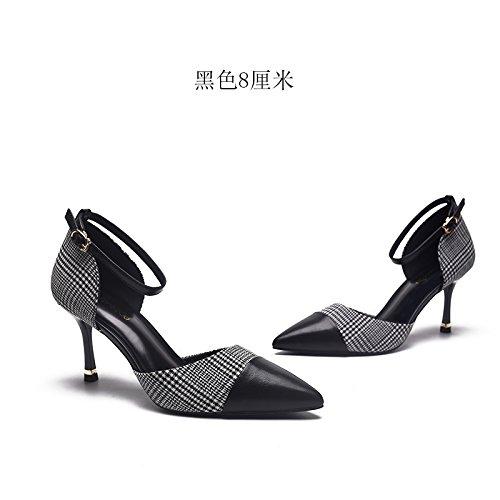 Con Verano Negro De Las Zapatos Sandalias GAOLIM Solo Punta Hueco Sujetadores Alto Baotou Los Fina Zapatos Ranurados Mujeres Mujer Negro De Tacón Zapatos 67nn0qH