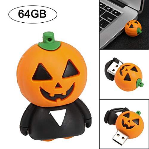 Gallity U Disk - USB 2.0 4/8/16/32/64GB Flash Drive Memory Storage Pen Disk Digital Halloween Funny Pumpkin U Disk (64GB) for $<!--$17.99-->