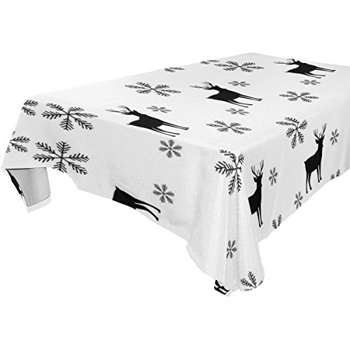 Vantaso Tablecloths Modern Stylish Abstract Texture Snowflake And Deer 60x90 inch Rectangle Polyester Table Cover for Kitchen Dinning Desk Decorative -