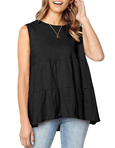 Kimiee Women's Sleeveless Peplum Tops Loose fit Round Neck Casual Tank Tops Tee Shirts (z2 Black, S)