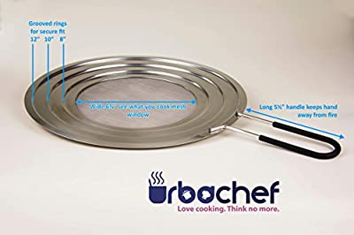 """Premium Splatter Screen From Urbachef for Frying Pans and Pots -12"""" Grease Splatter Guard Prevents Burns and Keeps the Kitchen Tidy - Stainless Steel Fine Mesh With Ergonomic Silicone Covered Handle"""