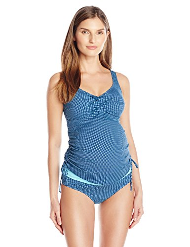 Prego Maternity Women's Maternity Dot Twist Tankini, Navy/Aqua, Large