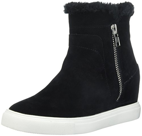 STEVEN by Steve Madden Women's CACIA Sneaker, Black Suede, 10 Medium US