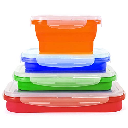Collapsible Kitchen Storage Containers Freezer and Microwave Safe, Dishwasher Safe Tupperware Storage Containers for Food,Silicone 4 Set Containers Travel Food Storage, Silicone Lunch Containers