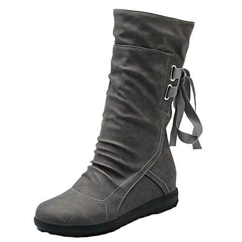 COOLCEPT Women Casual Ribbon Back Lace up Girls School Winter Half Boots Gray sjrXf