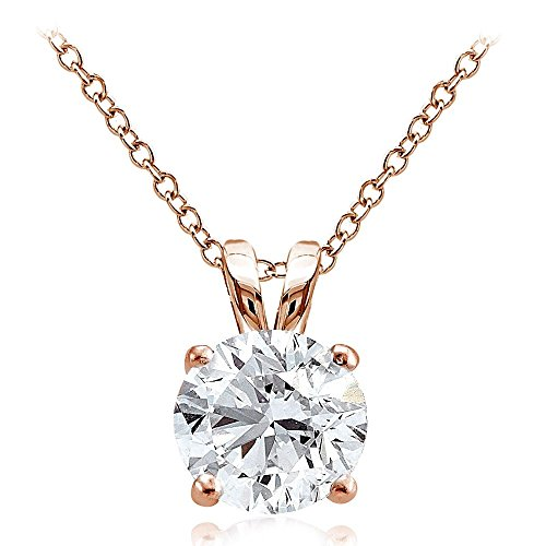(Hoops & Loops Rose Gold Flash Over Sterling Silver 4ct Cubic Zirconia 10mm Round Solitaire Necklace)