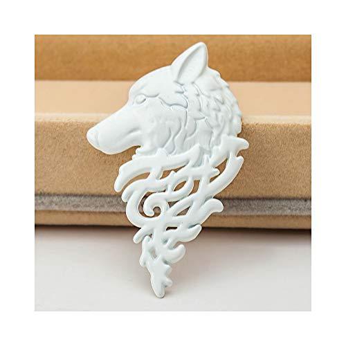 White Shirt Pin Retro (palettei Vintage Men Punk Wolf Head Brooch Badge Lapel Pin Shirt Suit Collar Jewelry Gift Women Men Jewelry Gift (White))
