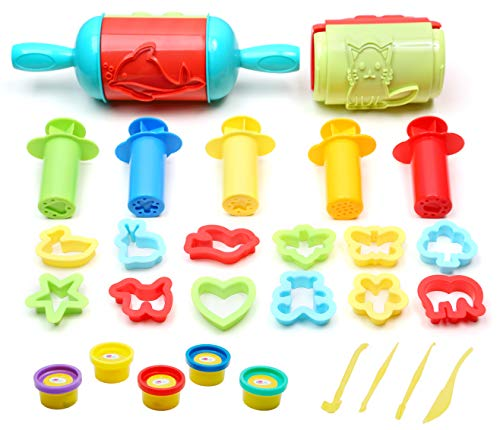 Ludos 26 Pc Play Dough Tools Set with 5 Tubs of Clay Dough, Super Rolling Pins with Imprints, Extruders, Plastic Cookie Cutters Plus More Accessories| Fun Animals and Shapes for Toddlers and Kids