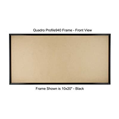 "Quadro Frames 11x22 inch Picture Frame, Black, Style P375-3/8 inch Wide Molding - ASSEMBLY IS REQUIRED. High precision components snap together quickly and without tools. Frame Kits include 1/8"" thick MDF backing panel, 0.040"" thick clear PET facing panel and molding set with concealed corner connectors for assembly and hanging. Moldings are 3/8 inches wide ABS plastic with a metallized mylar surface finish which is virtually indistinguishable from metal. - picture-frames, bedroom-decor, bedroom - 41opE8L1RlL. SS400  -"