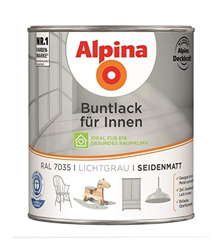 Alpina 750 ml Buntlack fü r Innen, Acryl-Lack RAL 7035 Lichtgrau Seidenmatt Alpina Farben GmbH
