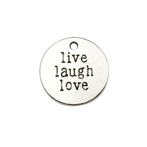 30pcs Antique Silver Round Live Laugh Love Inspiration Words Charms Craft Supplies Tag Charms Pendants for Crafting, Jewelry Findings Making Accessory for DIY Necklace Bracelet Earrings ()