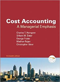 Book Cost Accounting: A Managerial Emphasis [COST ACCOUNTING 13/E]